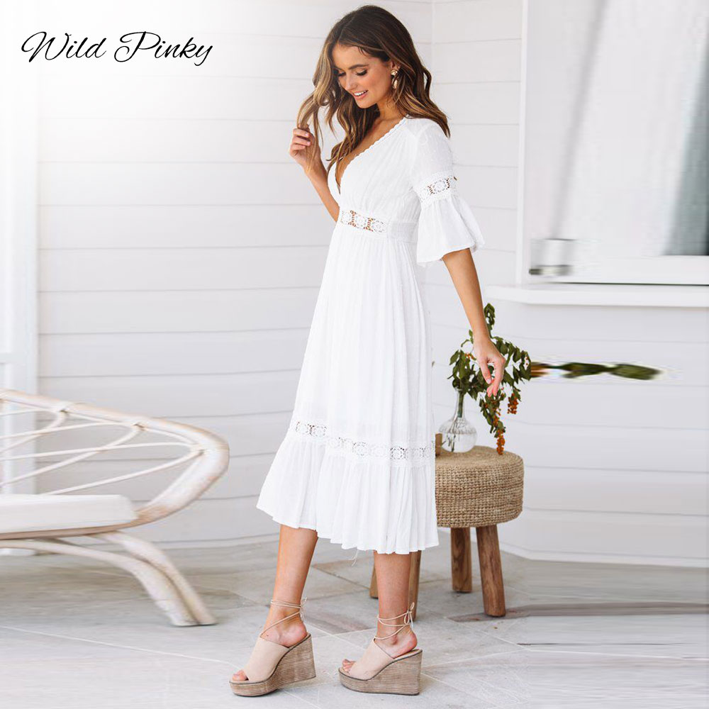 CUERLY New White Lace Up Long Sexy Dress Women Summer V neck Hollow Out Party Bohemian Dress Casual Feminino Dresses Vestidos L8 in Dresses from Women 39 s Clothing
