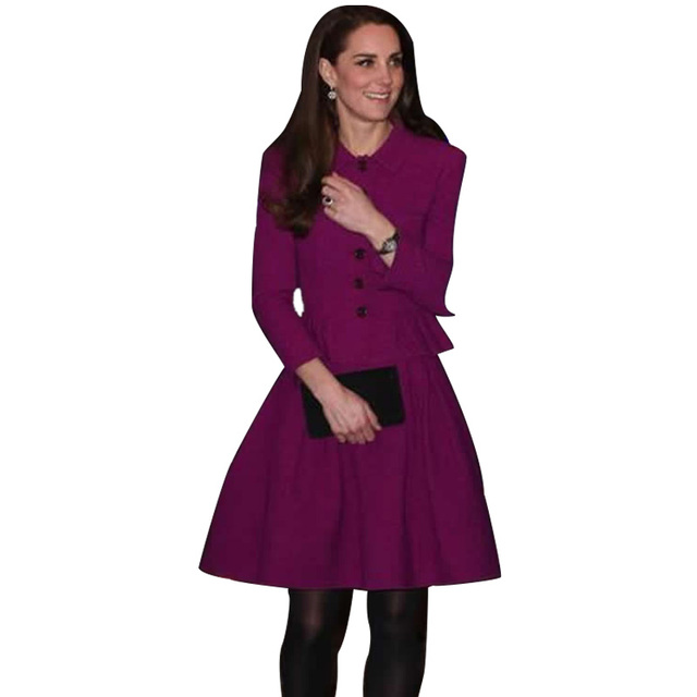 2018 Sping Autumn Kate Middleton Princess Purple Dress Turn Down