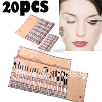 20 Pcs Set Professional Makeup Brush Set Cosmetic Make Up Brush With Fashion Roll Up Bag