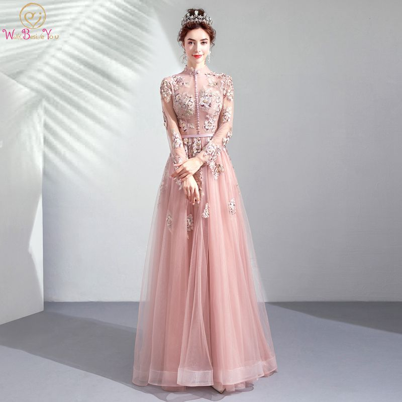 Walk Beside You Pink   Prom     Dresses   High Neck Tulle Lace Appliques Pearls A-line Transparent Long Sleeves with Button Evening Gown