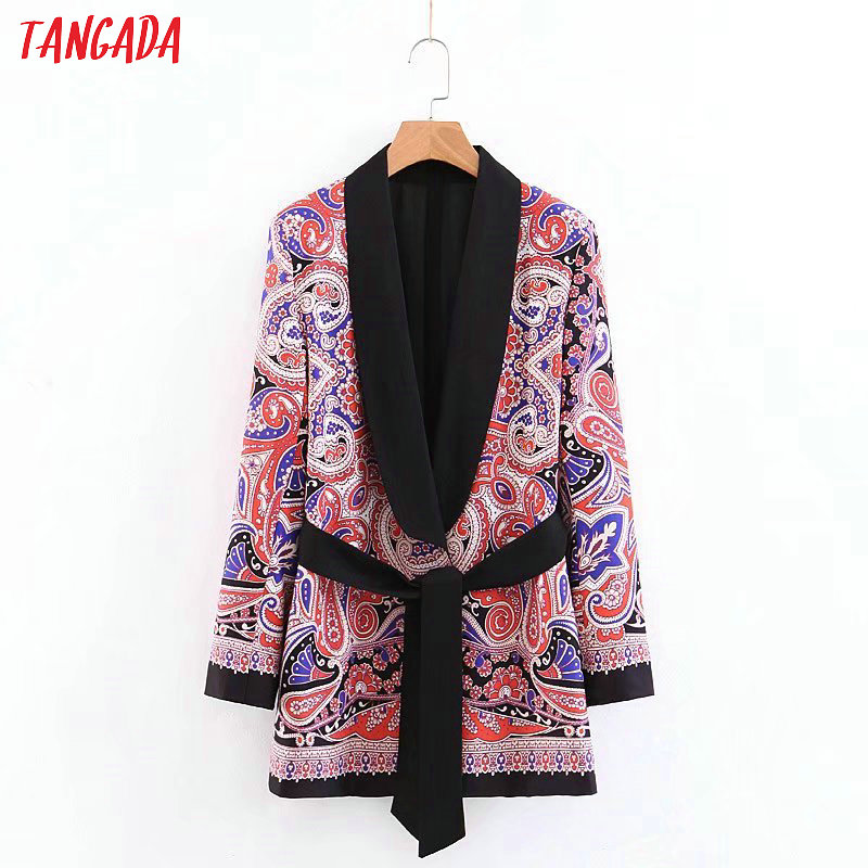 Tangada Fashion Women Paisley Blazer Long Sleeve With Belt Korea Style Female Blazer Office Ladies Vintage Outwear 3Z45