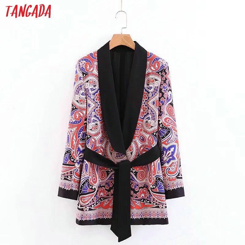 Tangada Fashion Women Paisley Blazer Long Sleeve With Belt Korea Style Female Blazer Office Ladies Vintage Outwear 3Z45