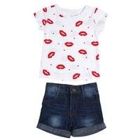 Crianças recém-nascidas Do Bebê Roupas Das Meninas Set Roupas de Verão Red Lip Impresso T-Shirt de Manga curta + Short Jeans Pant Set Roupas Meninas Jogo