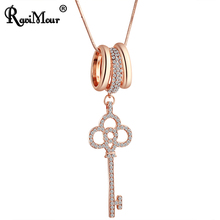 RAVIMOUR New Long Chain Necklaces for Women Key Circles Statement Necklace Pendant Choker Female Jewelry kolye Accessories 2018