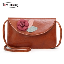 KYIDER 2019 Designer Handbag Flower Women Messenger Bags Day Clutch Vintage PU Leather Purse Shoulder Crossbody for