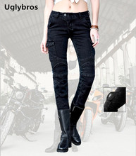 Fashion Casual Uglybros Motorpool Ubs06 Jeans Motorcycle Pants Women's Style Moto Pants Black Racing Jeans size: 25 26 27