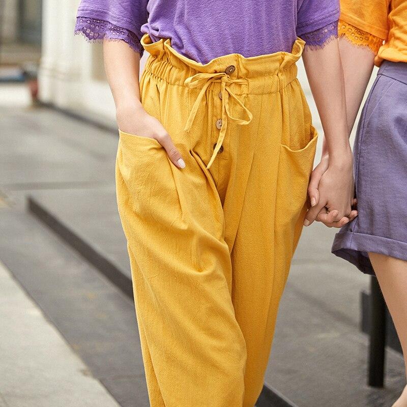 ARTKA 2019 Summer Women Pants Loose Harem Pants Multicolor Cargo Pants High Waist Lace Up Casual