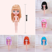 30cm Height Blyth Doll With 9 Colors Wigs Change Eyes Nude Doll Joint Body Fashion Girl Toys Plastic Blyth Dolls бальзам для губ natura siberica мамин сибиряк детский 10 мл