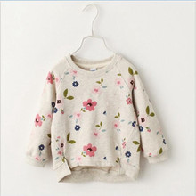 2016 new autumn girls children's clothing casual short girls sweatshirts collar fresh flowers full sleeved hoodies