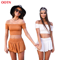 OOTN TZ002 potters clay color off shoulder crop top and mini shorts women summer set suits ruffled midriff top short sleeve