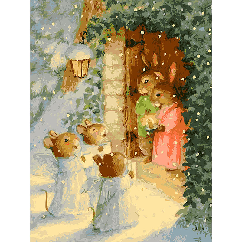Frameless rabbit and snow diy painting by numbers kits for Diy frameless picture frames