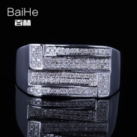 BAIHE Sterling Silver 925(S925) 0.45ct Certified H/SI Round Single Cut Genuine Natural Diamonds Women Trendy Fine Jewelry Ring