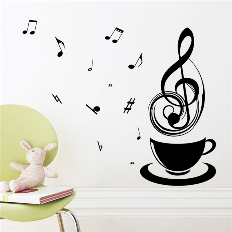 Coffee Musical Notes Decorative Wall Stickers Office Study Room Vinyl Decorations DIY Home Decals Mural Posters For Refrigerator