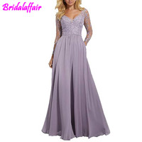 Long Sleeves Bridesmaid Dresses V Neck dress bridesmaid Formal Dresses Embroidery lace dress for wedding party