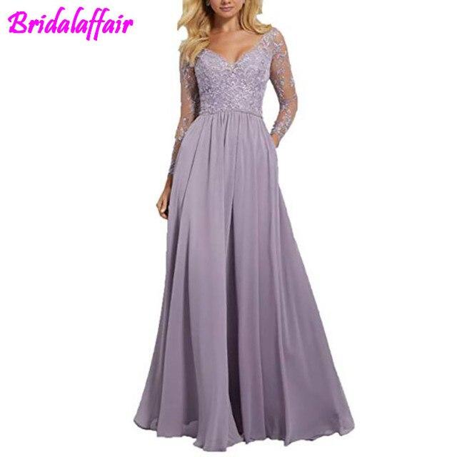ארוך שרוולים שושבינה שמלות צווארון V שמלת שושבינה פורמליות שמלות רקמת תחרה שמלה למסיבת חתונה