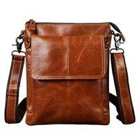 Real Leather Male Design One Shoulder Bag Messenger Bag Cowhide Fashion Cross Body Bag 10 Pad