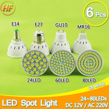 6pcs 5W 6W 8W GU10 MR16 E27 LED Lamp LED Spotlight Bombillas Spot light Lampada LED Bulb GU10 MR16 220V 110V 12V Lampara Ampoule