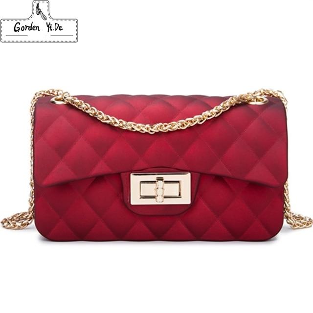 Mini Chain Jelly Bag 2018 Women Diamond Lattice Flap Casual Clutch Scrub Handbag Silicone Candy