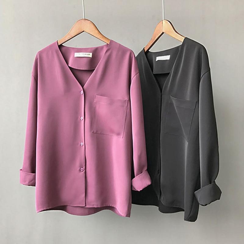 Herbst Büro Dame V-ausschnitt Blusen Shirts Langarm Lila Feste Minimalismus Arbeit Blusen Tops Koreanische Mode Weiß Einfache Hemd