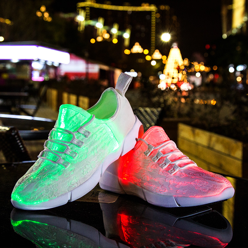 New 2018 Summer Led Fiber Optic Shoes women USB Recharge glowing shoes Unisex Luminous Sneakers light up shoes size 34-46 size 25 46 fiber optic backlight led shoes for girls boys men women new usb charging luminous sneakers glowing light up shoes