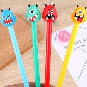 Image 4 - 100 шт., нейтральная ручка с милым монстром, черная ручка с монстрами, Канцелярия: ручка с подписью, Kawaii, школьные принадлежности