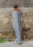 Big Black And White Polka Dot Dress 2016 Summer New Fashion Casual Loose Dress Milk Silk