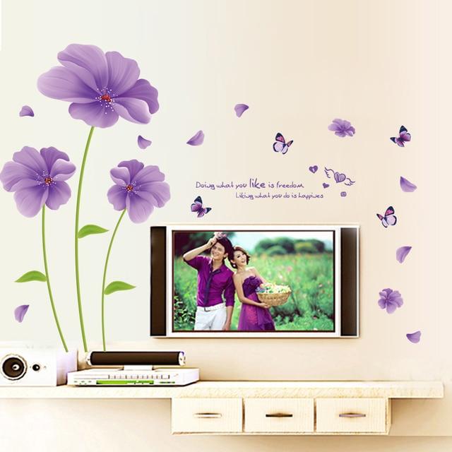 Quente romântico roxo flor sala TV parede sofá fundo adesivos decorativos de parede de cabeceira quarto belas flores