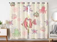 Blackout Curtains 2 Panels Grommet for Bedroom Pink Cartoon Fish Octopus Coral Underwater World