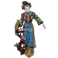 Chinese Dream Of The Red Chamber Twelve Flowers Of Jinling Baochai Flapping Butterfly Ceramics Craftwork Statue Ornaments X1776