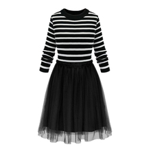 Fashion Short Dress Women Long Sleeve Striped Knitting Tops Black Net yarn Dress Girls Party Dress Sexy Vintage Mesh Patchwork
