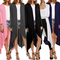 2017 Maternity Long Sleeve Open Front Long Cardigan Coat Casual Long Line Draped High Low Hem