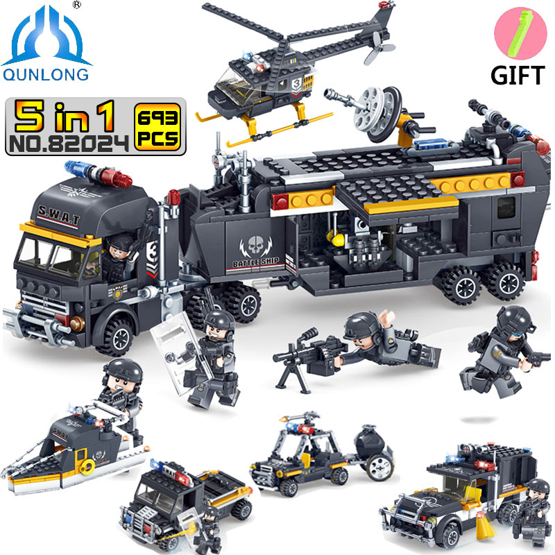 Qunlong Toys Military SWAT Team Command Vehicle Car Building Blocks Compatible Legoe City Police Figures Helicopter Toys Boy ...