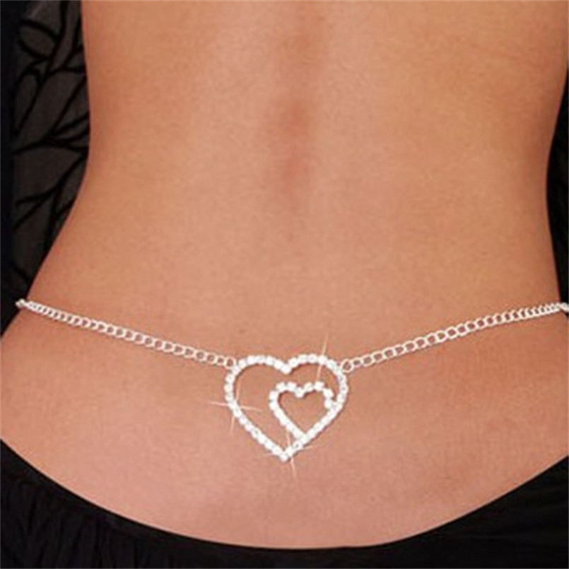 Sexy Belly Body Chain Low Tassel Rhinestone Heart Shape Waist Chains Women Fashion Jewelry Beach Bikini