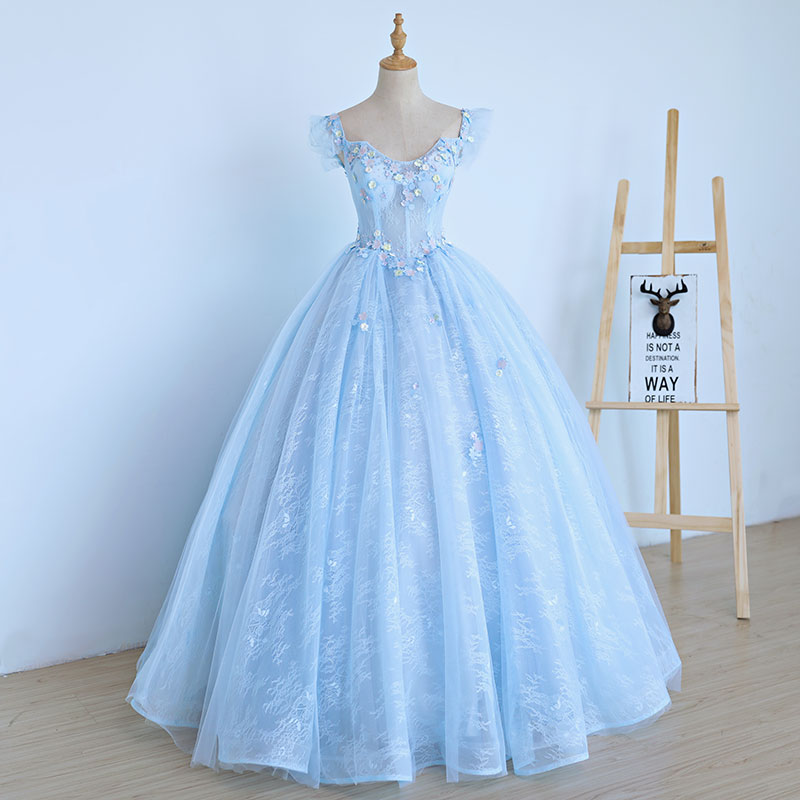 3d0c4cdfb Details about Sky Blue Ball Gown Lace Quinceanera Dresses 15 Sweet 16 Puffy Prom  Gown