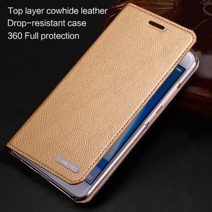 Image 2 - wangcangli leather calfskin litchi texture For Xiaomi Mi Note 2 flip phone case all handmade custom