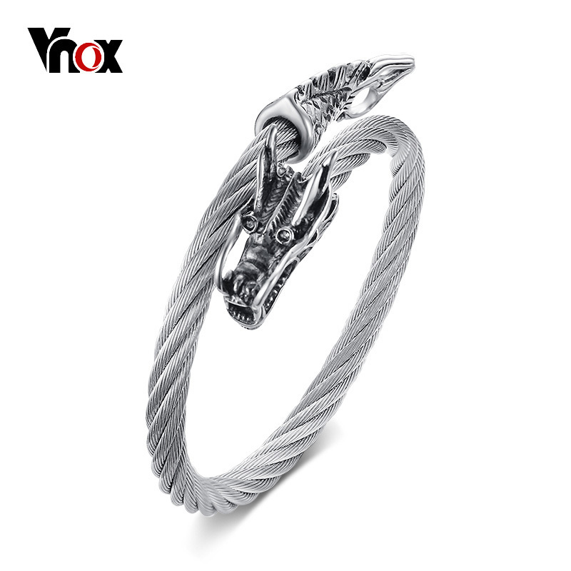 Vnox Chinese Dragon Women Cuff Bracelet Bangle High Quality Stainless Steel Twisted Wia Chain Female Jewellery twisted stainless steel wire mens skull bangle bracelet