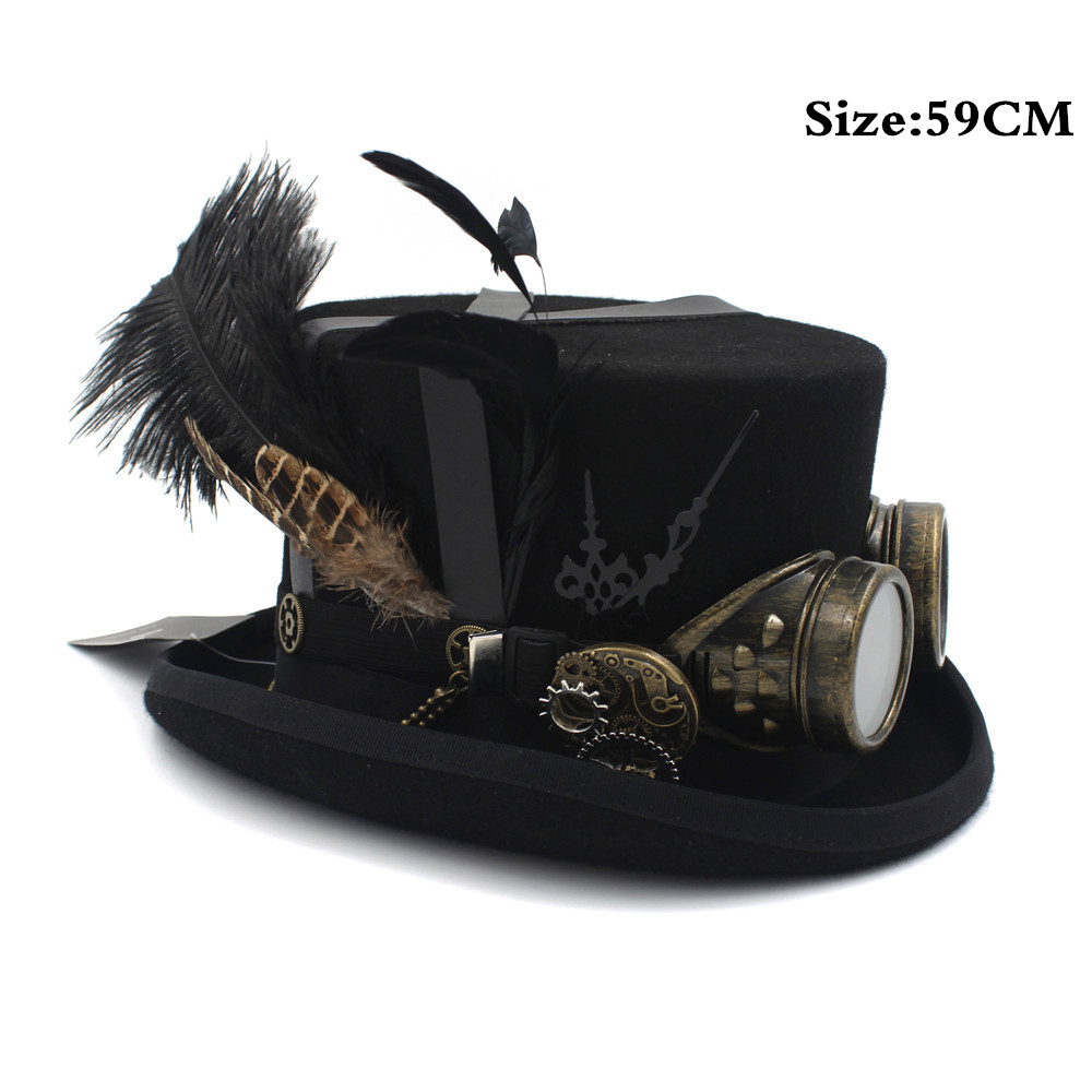 Assez 100% Wool Designer Steampunk Top Hat Fedoras with Feathers Cogs  QL47