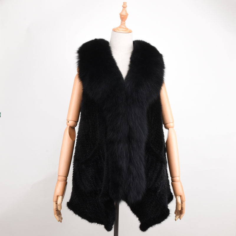 Real Mink Fur Vest fox fur collar Autumn Winter Women Fur Shawl Fashion Mink Luxury Winter