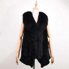 Real Mink Fur Vest fox fur collar Autumn Winter Women Fur Shawl Fashion Mink Luxury Winter