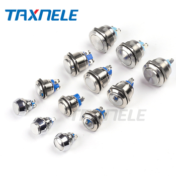 цена на 12mm 16mm 19mm 22mm reset screw metal push button 1NO Horn Push Botton Switch Domed Momentary Switch round high flat head
