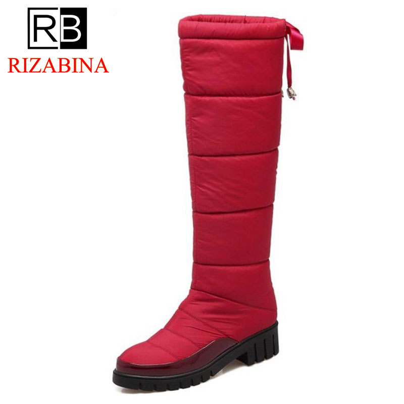 RizaBina Size 33-45 Women Real Leather High Heel Boots Rivet Zipper Mid Calf Boots Warm Shoes Winter Short Botas Women Footwears promotion 6pcs baby bedding set 100% cotton curtain crib bumper baby cot sets baby bed bumper bumpers sheet pillow cover
