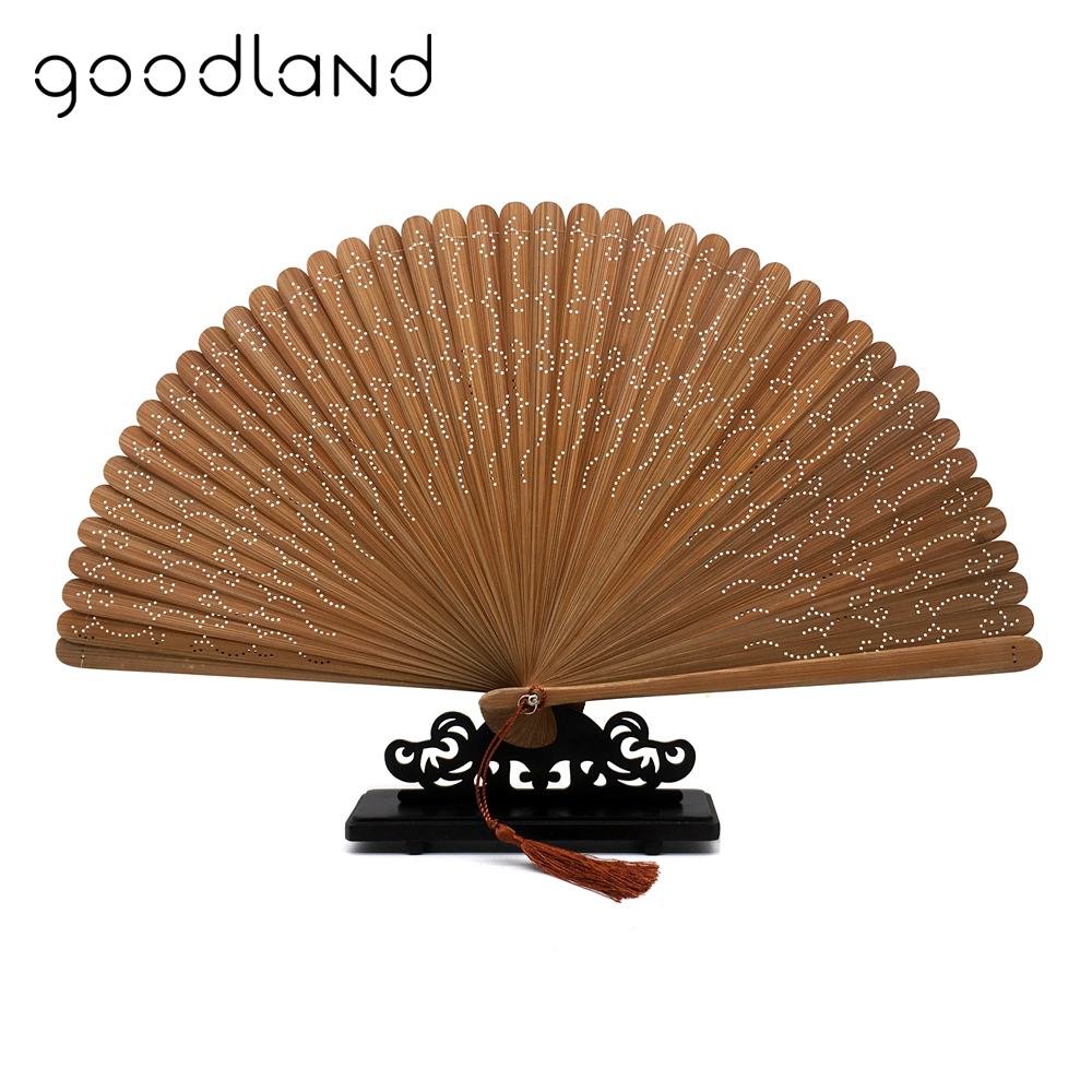 Free Shipping 5pcs Black Brown Dark Blue Full Bamboo Geomitric Pattern Carved Folding Hand Fan Bamboo Craft Decoration