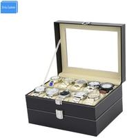 Nuevo Negro doble capa cerradura Dispaly caja de almacenamiento ventana gafas de sol negro coser regalo de cuero para hombres/mujeres recoger caja de WBG1096