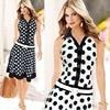 2018 Women Dresses Fashion Polka Dot Sleeveless V Neck Print Dress One Piece Dresses New Summer