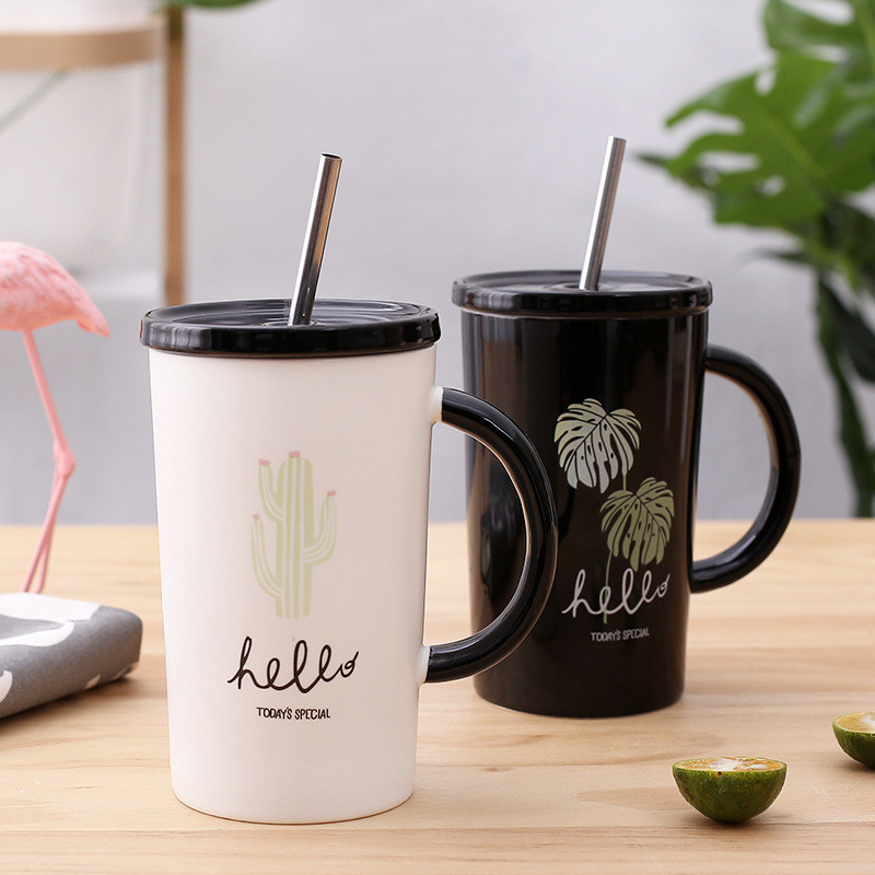 Fashion 420 ml New Todays Specail Office Coffee Mug with Stailess Steel Straw and Lid for Best Gift