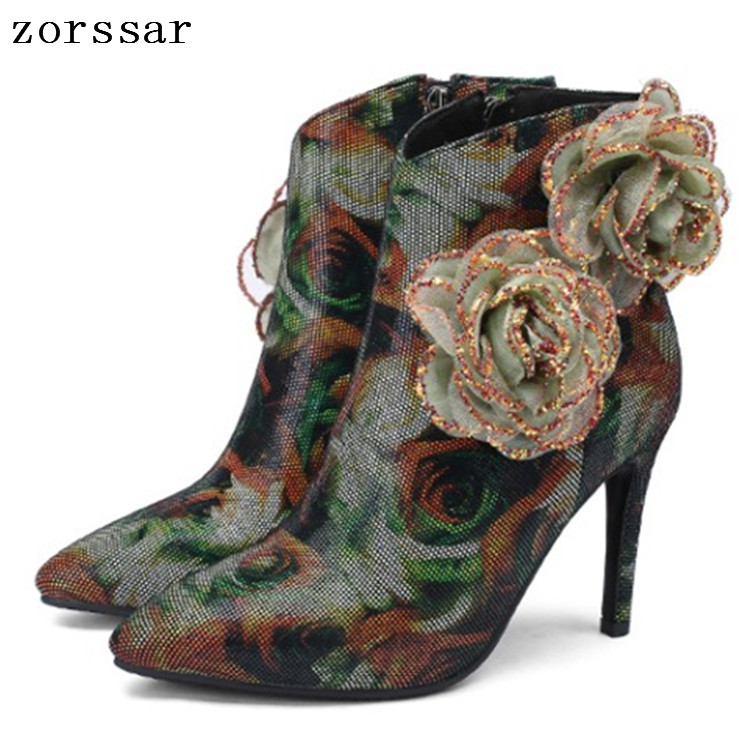 {Zorssar} Plus Size 33-43 Sexy Thin heels Women Ankle Boots Winter Suede leather Fashion Flower Female Booties Banquet shoes{Zorssar} Plus Size 33-43 Sexy Thin heels Women Ankle Boots Winter Suede leather Fashion Flower Female Booties Banquet shoes