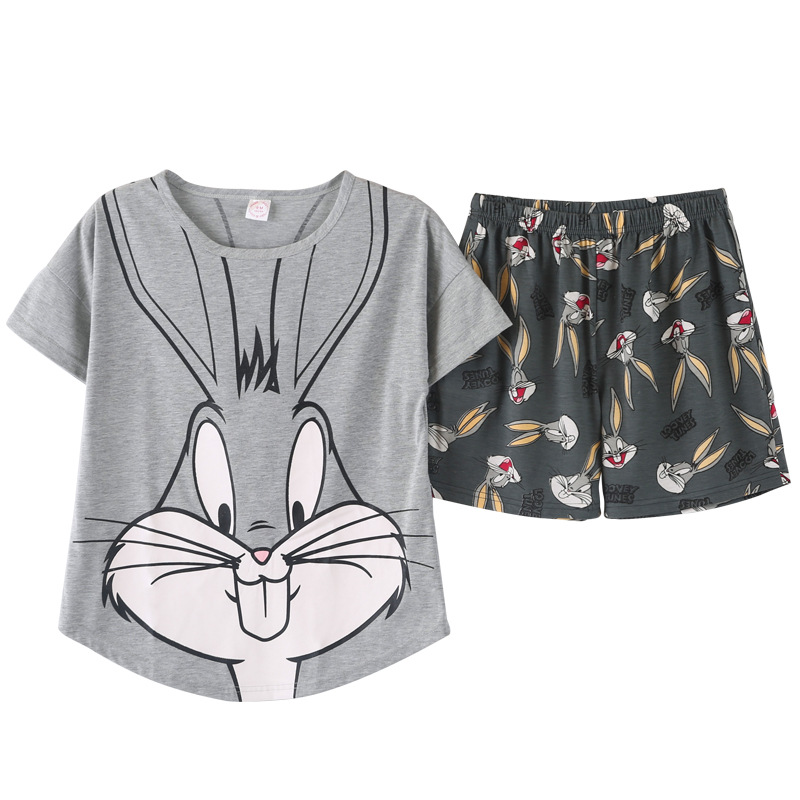 Clothings Pajama-Set Short Bunny Pink Womens Cartoon Summer Cute Polyester-Printing Bugs