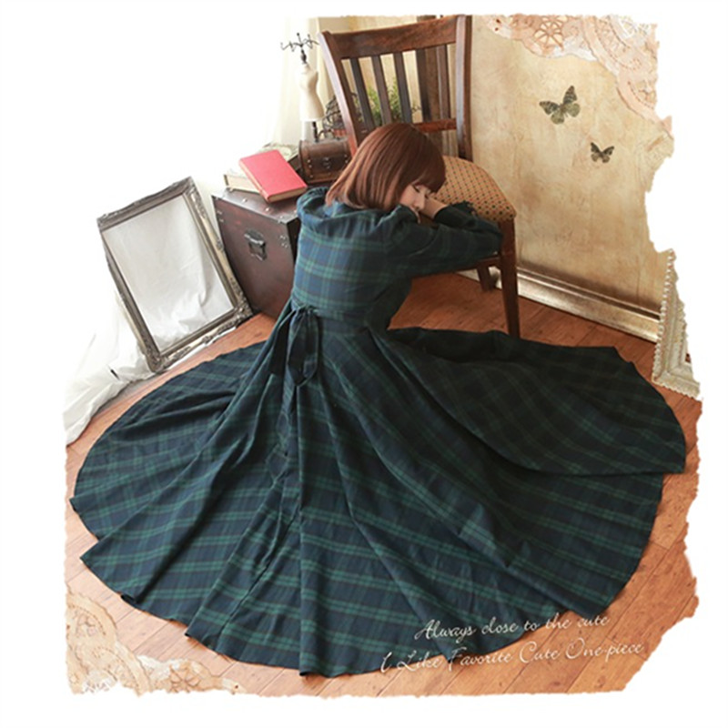 Vintage Mori Girl Preppy British Plaid Long Maxi Dress Princess Dress Sweet Peter Pan Collar Women