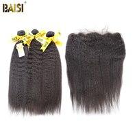 BAISI Tóc 3 CÁI tóc với một Đầu Ren Phía Trước Đóng Cửa 100% Chưa Qua Chế Biến Tóc Con Người Peru Trinh Tóc Kinky Straight mở rộng