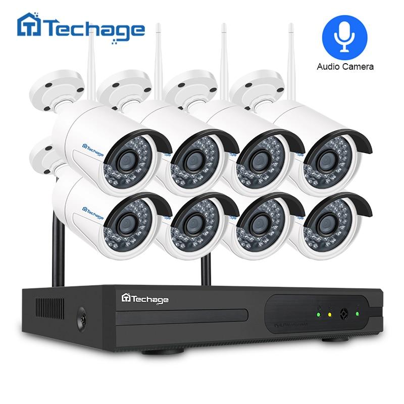 Techage 8CH 1080 p Système de Sécurité Sans Fil Wifi NVR Kit 8 pcs 2MP Extérieure CCTV Audio Son Caméra P2P Vidéo système de Surveillance